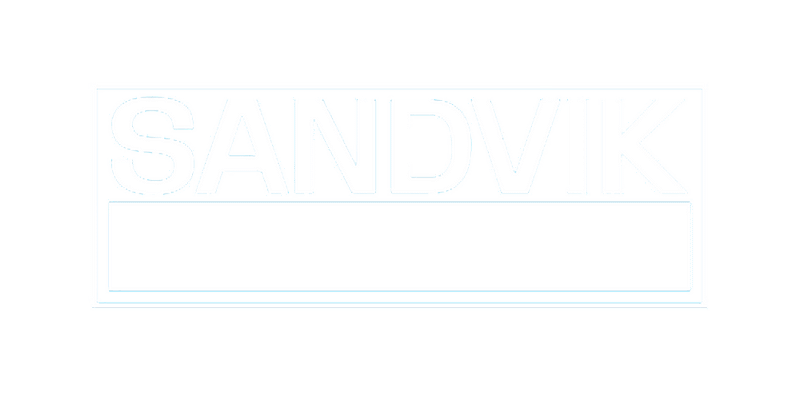 MRstudios Client Sandvik logo in white without the background.