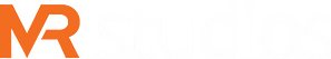 MRstudios logo in white and orange colour without the background.